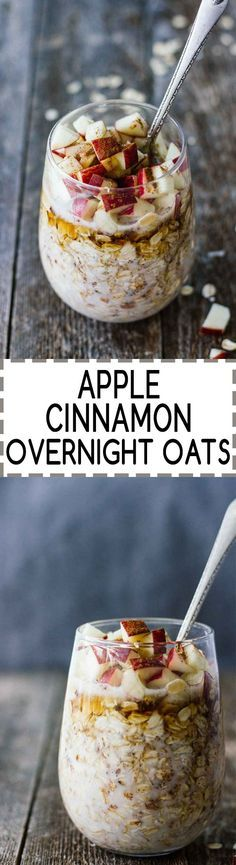 Apple Cinnamon Overnight Oats! Vegan, vegetarian, gluten free, refined sugar free. Only takes 5 minutes to prep and makes a healthy, quick breakfast that's perfect for fall!