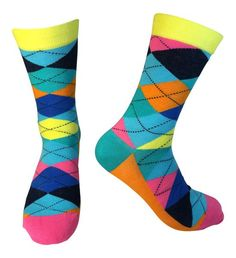 Fun Selection of Socks in Bold, Bright, Colorful Patterns. ***** RATED, Make your sole happy with these amazing socks. Cute Socks, Awesome Socks, Men's Socks, Mens Argyle Socks, Teal Orange, Blue, Crazy Socks, All About Shoes, Colorful Socks