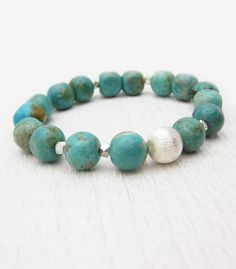Turquoise Nuggets Statement Bracelet in Sterling Silver