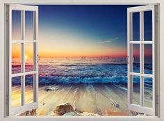 Huge 3D Window Sea Beach Shore View Wall Stickers Mural Art Decal