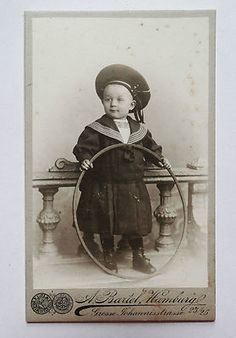 Victorian German Cabinet Card Photo Young Boy Sailor Suit Hat Toy Hoop