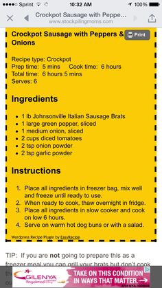 Crockpot Italian Sausage and Peppers & Onions Crock Pot Food, Crock Pot Freezer, Crockpot Dishes, Crock Pot Slow Cooker, Pressure Cooker Recipes, Freezer Meals, Freezer Recipes, Freezer Cooking, Pork Recipes