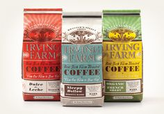 Louise Fili Alluring coffee bags for Irving Farm use a splendid combination of and pattern treatment. By Louise Fili. Coffee Branding, Coffee Packaging, Brand Packaging, Design Packaging, Louise Fili, Creative Coffee, Pretty Packaging, Coffee Design, Food Design