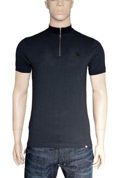 """Pretty Green Mod Black Turner Zip Polo Shirt Tshirt Medium 38"""" Cotton BNWT #PrettyGreen #PoloShirts"""