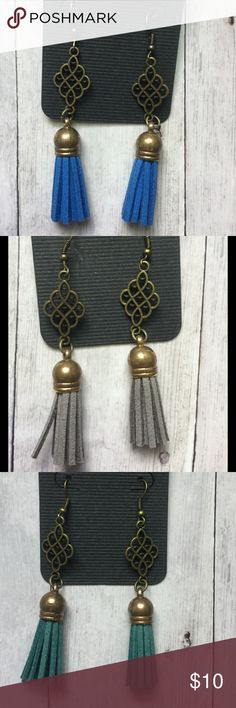 Antique brass and leather tassel earrings Trendy earrings... Choose royal blue, gray, or deep teal. No extra shipping charge for multiple pairs. Jewelry Earrings
