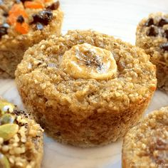 Banana Quinoa Muffins {vegan, gluten-free} Healthy quinoa muffins, made with only 3 ingredients! They are vegan, flourless, refined sugar free Paleo Vegan, Healthy Vegan Snacks, Vegan Desserts, Vegan Gluten Free, Vegan Bread, Healthy Recipes, Health Desserts, Paleo Diet, Healthy Meals
