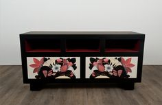 Penelope is a hand painted tv unit with hints of oriental design in its form. Adorned with ornamental painted designs. It comes with push-to-open drawers. By Basma Furniture www.basma.me www.facebook.com/basmafurniture