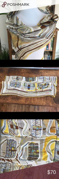 Fendi Scarf This is authentic, silk Fendi scarf w illustrations of Baguettes. Fendi Accessories Scarves & Wraps