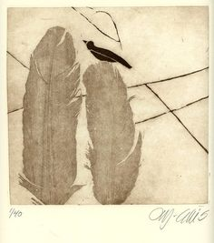 etching, Birds of a Feather , bird and two feathers in sepia on cream paper