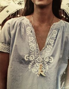 Handmade shirt_light blue with white ethno details.