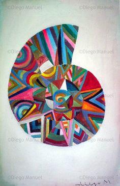 """""""caracol 2"""", acrylic on canvas, 29 x 44 cm. By Diego Manuel"""