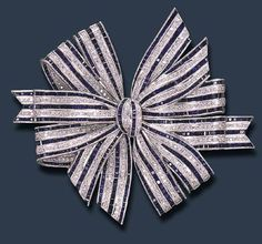 Diamond & Sapphire Bow Brooch! #ArtDeco #Brooches #Bow