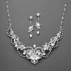 Freshwater Pearl & Crystal Wedding Necklace and Earrings Set $49.95