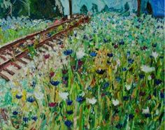 By the Tracks original Impressionism wildflower field train tracks road oil painting by Laura Saune