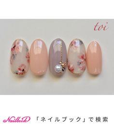 #ジェルネイル #フラワーネイル #フラワー #大人ネイル #上品ネイル #手描きアート|ネイルデザインを探すならネイル数No.1のネイルブック Soft Nails, Fancy Nails, Trendy Nails, Japan Nail Art, Asian Nails, Elegant Nail Art, Gel Nagel Design, Kawaii Nails, Nail Candy