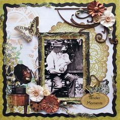 Tender Moments ~ Heritage collage page with a great mix of embellishments. Heritage Scrapbooking, Scrapbooking Layouts, Vintage Scrapbook, Scrapbook Pages, Diy And Crafts, Paper Crafts, Graphic 45, In This Moment, Pear