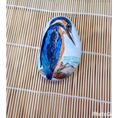 Kingfisher Pebble Art by TheDandyArtist on Etsy