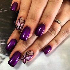 Butterfly Nail Designs, Butterfly Nail Art, Purple Nail Designs, Colorful Nail Designs, Acrylic Nail Designs, Purple Butterfly, Purple Nail Art, Pretty Nail Art, Purple Glitter