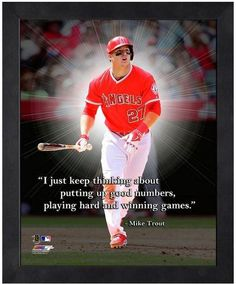 """Mike Trout Los Angeles Angels of Anaheim - 11"""" x 1 4"""" Framed """"Pro Quotes"""""""