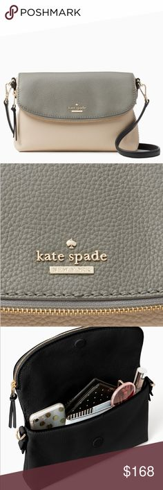 """Authentic Kate Spade pebbled leather Crossbody💕💕 Authentic pebbled leather Kate Spade Crossbody 💕 10.5 w x 6.6 h x 2.0 d 22"""" adjustable strap  pebbled leather with matte finish with leather trim bookstripe printed on poly twill lining  crossbody with adjustable strap flap with zipper closure inteiror zipper and double slide pockets dust bag included imported  New with Tags !!!❤️❤️ Retail:$258 kate spade Bags Crossbody Bags"""