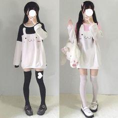 www.sanrense.com - Pink/black kawaii rabbit fleece pullover SE6605