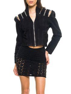 Vintage Fashion Punk Black Denim Zipper Jacket Size: S/M Fashion Tag, 80s Fashion, Vintage Fashion, Womens Fashion, Denim Fashion, Fashion Boots, Vintage Outfits, Vintage Clothing, Summer Denim