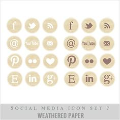 weathered paper social media buttons