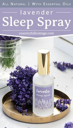 Enjoy aromatherapy benefits of lavender! See how to make all natural relaxing DIY lavender sleep spray and linen spray with and without essential oils! The calming homemade pillow mist promotes deep sleep, sweet dreams and bedtime relaxation at night. Includes lavender spray recipes for kids and baby sleepy time. And variations with rose and cedarwood. Great for Young Living and Doterra EO. Plus printable gift labels. #lavender #sleepspray #essentialoils #aromatherapy… Essential Oils Room Spray, Essential Oils For Sleep, Essential Oil Perfume, Lavender Oil For Sleep, Lavender Sleep Spray, Diy Perfume Recipes, Lavender Benefits, Lavender Recipes, Linen Spray
