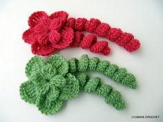 Crochet Flower Pattern Instant Download. Use such flowers for accessories like hat, headband, hair pin, brooch, scarf, sweater... Add new life to your crochet, knit, sew projects!  Crochet Pattern PDF file with tutorial pictures showing the stitches row by row made it so much easier to work with the pattern.  Skill Level: Easy. Finished size approximately: 9 cm x 18 cm, depend on how you stuff and on your choice in yarn and crochet hook size. Feel free to mix and match different colours to…