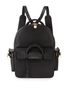 Buscemi PHD Large Leather Backpack, Black