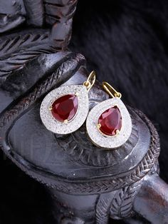 Designer CZ and Red AD stones Earrings