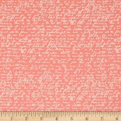 Riley Blake Ava Rose Script Coral from @fabricdotcom Designed by Deena Rutter for Riley Blake, this cotton print fabric features script in romantic hues. Perfect for quilting, apparel and home decor accents. Colors include cream and peach.