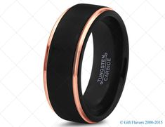 Midnight Rose™ Tungsten 18k Rose Gold Polished Step Edge Black Band 8mm Wedding Band