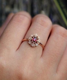Ruby Engagement Ring Rose Gold Vintage Oval Cut Gypsy Set Flower Cluster A . - Ruby Engagement Ring Rose Gold Vintage Oval Cut Gypsy Set Flower Cluster Antique Halo Diamond W - Engagement Ring Settings, Diamond Wedding Rings, Diamond Bands, Vintage Engagement Rings, Halo Diamond, Ruby Engagement Rings, Wedding Bands, Gold Wedding, Indian Engagement Ring