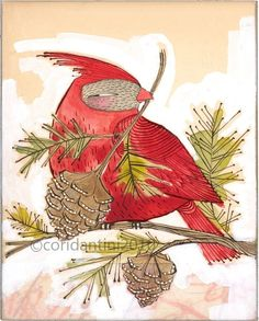 whimsical red watercolor painting of a cardinal - ink - drawing - animal art - archival - limited edition print...JOY... holiday art, 5x7 by corid on Etsy https://www.etsy.com/listing/64241438/whimsical-red-watercolor-painting-of-a
