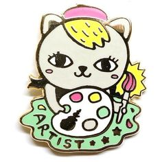 Kitty the Artist Enamel Pin ($9.61) ❤ liked on Polyvore featuring jewelry, brooches, pin jewelry, enamel brooches, pin brooch, enamel jewelry and cat brooch