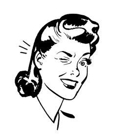 Retro Clip Art Quirky Women The Graphics Fairy - Clipart Suggest Retro Images, Vintage Images, Vintage Art, Vintage Clip, Vintage Postcards, Vintage Black, Vintage Romance, Vintage Humor, Funny Vintage