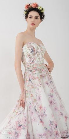 anny lin bridal 2016 felicia strapless romantic multi colored floral print wedding dress sweetheart neckline bodice close up