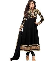 Black georgette embroidered unstitched salwar with dupatta dress-material www.mirraw.com