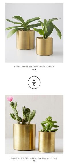 @schoolhouseelec Electric Brass Planter $50 Vs @urbanoutfitters Mod Metal Small Planter $8
