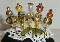 """5 Handmade Stick Pins Pearls & Beads 2"""" Cards Albums"""