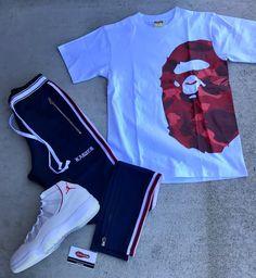 "34a18c4c Authentic Sole Boutique on Instagram: ""New Karter Joggers In 👖👆🏽🔥  Accompanied by New Bape Color Camo Side Big Ape Tee.. AJ 11 Retro Platinum  sz 12 (DS) ..."