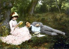 Idyll by Albert Edelfelt, BonzaSheila Presents The Art Of Love Archives For April, 2006 Victorian Paintings, Victorian Art, Charles Edward, Helene Schjerfbeck, John William Godward, Prinz Eugen, Romantic Paintings, Woman Reading, Renaissance Art