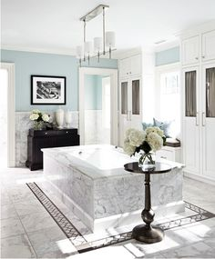 Bath placed in centre of room