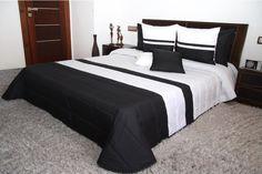 Čierno biely luxusný prehoz na manželskú posteľ