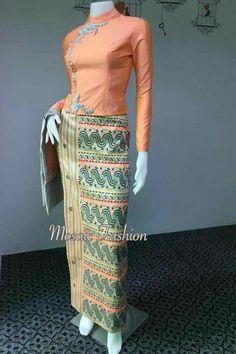 Burmese wears traditional costumes of Myanmar - Fashion Traditional Dresses Designs, Traditional Outfits, Myanmar Dress Design, Myanmar Traditional Dress, Batik Fashion, Thai Dress, Batik Dress, African Wear, Muslim Fashion