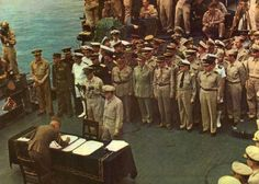 Japanese surrender aboard the U.S.S Missouri in Tokyo harbor Sept. 2, 1945 marking the end of World War II