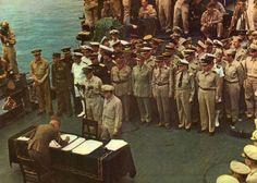 Japanese surrender aboard the U.S.S Missouri in Tokyo harbor Sept. 2, 1945 marking the end of World War II