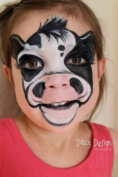 Daizy Design from nz cow face painting ideas for kids Animal Face Paintings, Animal Faces, Looks Halloween, Halloween Makeup, Facepaint Halloween, Facepaint Ideas, Halloween Painting, Easy Halloween, The Face