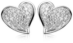$29.00 Pave-set cubic zirconia stones add a touch of sparkle to these charming heart-shaped earrings. Made from genuine sterling silver, the earrings have a slight puff shape and a stylized design that gives them a youthful contemporary look. They are set on posts with friction back closures.